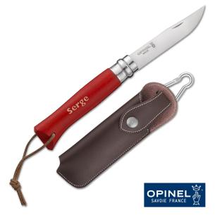 Couteau Opinel N°08 Baroudeur Rouge + Etui, Personnalisable