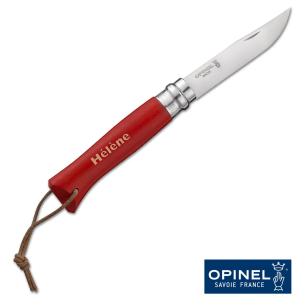 Couteau Opinel N°08 Baroudeur Rouge + Etui, avec votre prénom