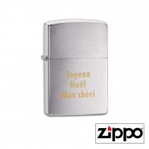 Briquet Zippo Regular Satiné Personnalisable avec un texte