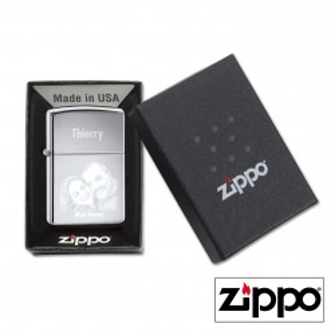 Briquet Zippo (Photo et Texte) High Polish Chrome Personnalisable -...