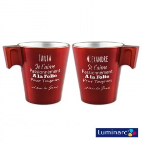 Duo Mugs Rouge Texte Amour Personnalisé