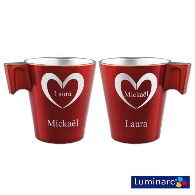 Duo Mugs Rouge Cœurs Personnalisé Luminarc