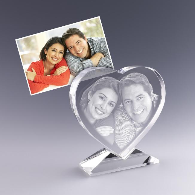 Coeur en verre personnalisé avec photo et texte