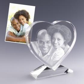 Grand coeur en verre sur pied gravé d'une photo