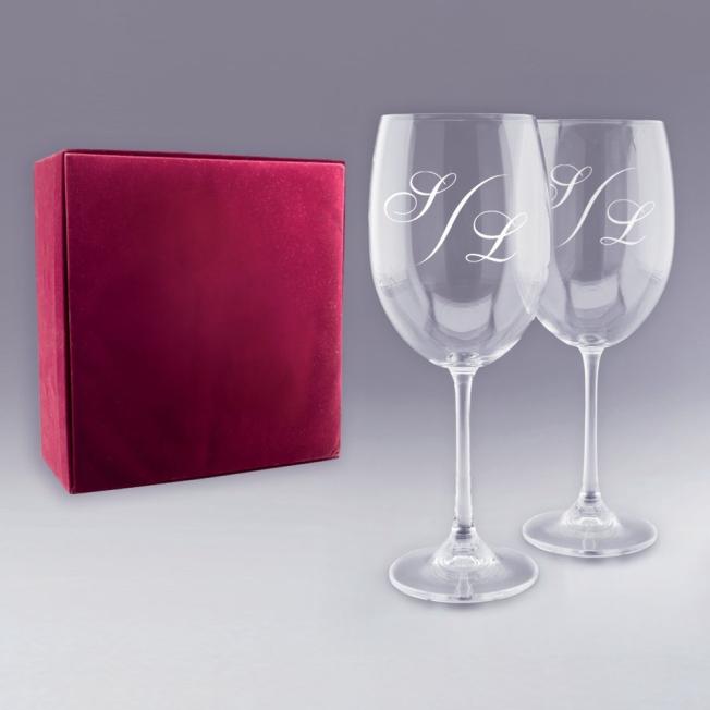 """Coffret 2 Verres à Vin """"Monogramme"""" Personnalisables"""