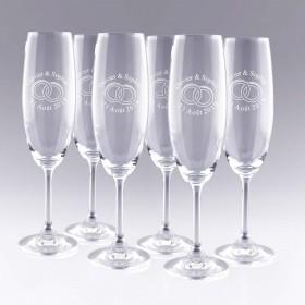 6 Flûtes à Champagne Alliances Personnalisées
