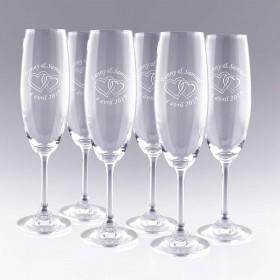 6 Flûtes à Champagne Cœurs Personnalisées