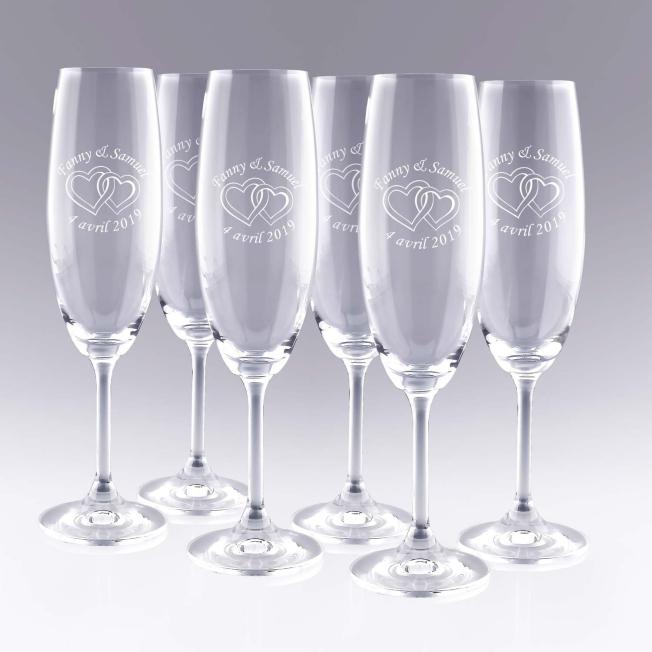 6 Flûtes à Champagne Cœurs Personnalisées pour  Deux cœurs qui s'en...