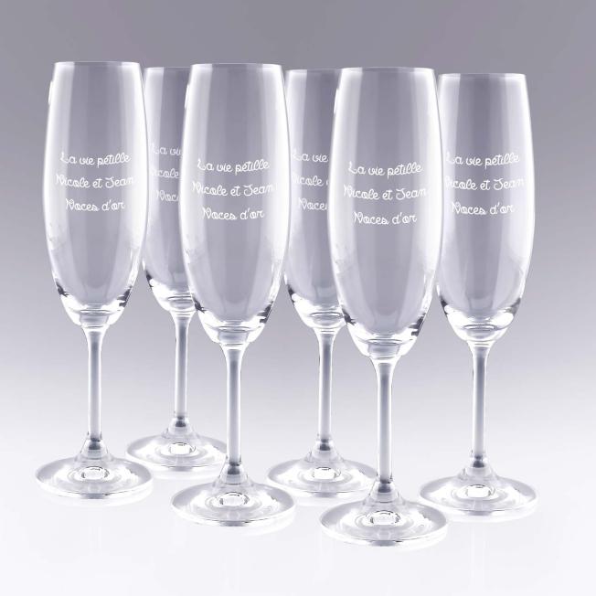 6 Flûtes à Champagne Personnalisées Texte Libre