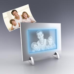 Cadre photo personnalisé - Lumiere LED bleue ou blanche