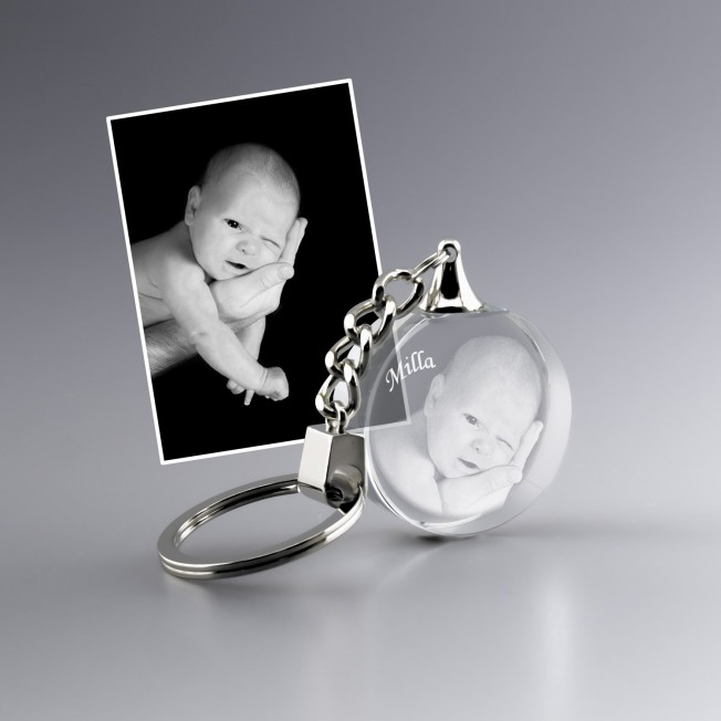 porte-clefs en verre personnalisé avec photo