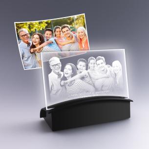 plaque photo horizontale avec socle lumineux