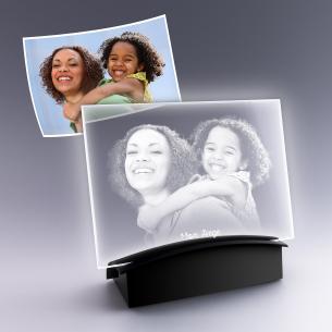 plaque photo verre avec socle lumineux