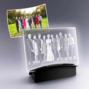 Photo de groupe sur plaque en verre