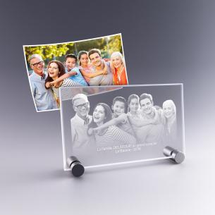plaque photo sur pied métal