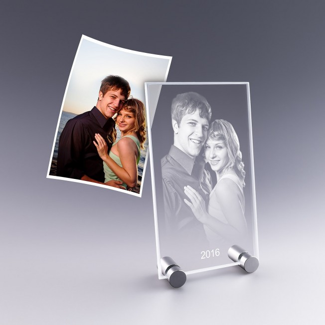 plaque photo en verre verticale