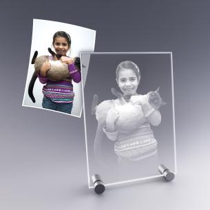 Cadeau personnalisé - plaque photo en verre gravée de votre photo préférée