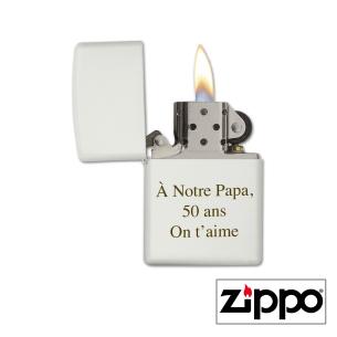 Briquet Zippo Colors Blanc Personnalisable pour  Zephyr personnalis...