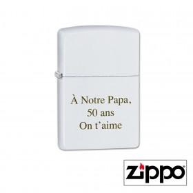 Briquet Zippo Colors Blanc Personnalisable avec un texte et/ou prénom