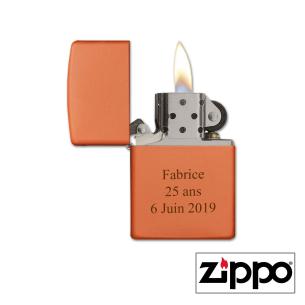 Briquet Zippo Orange Personnalisable avec prénom et texte