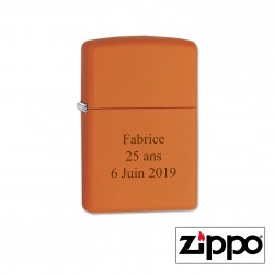 Briquet Zippo Orange Personnalisable
