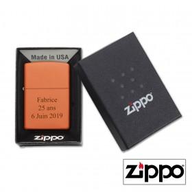 Boîte cadeau Briquet Zippo Orange Personnalisable