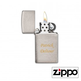 Briquet Zippo SLIM® Satiné gravé avec un texte
