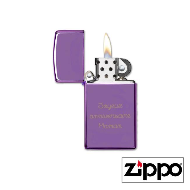 Briquet Zippo SLIM® Violet Brillant Personnalisable