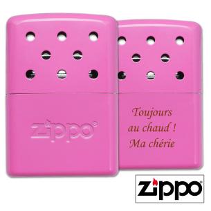 Chauffe-Mains 6H Zippo Rose Personnalisable avec un texte