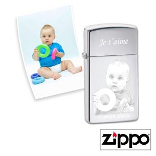 Briquet Zippo SLIM® (Photo et Texte) Chrome Personnalisable pour  F...