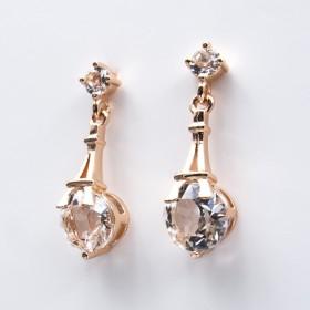 Swarovski® Elements - Boucles d'Oreilles Tour Eiffel Rose Doré