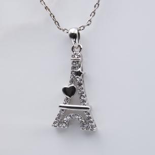 Pendentif Tour Eiffel Cœur Argenté - Swarovski® Elements