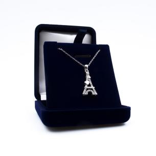 Pendentif Tour Eiffel Cœur Argenté - Swarovski® Elements livré dans un écrin velours