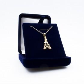 Pendentif Tour Eiffel Cœur Doré - Swarovski® Elements