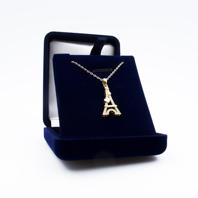 Pendentif Tour Eiffel Cœur Doré - Swarovski® Elements pour  Vous au...
