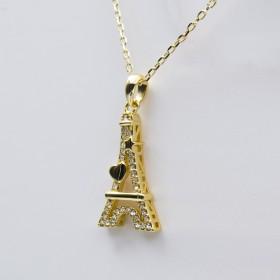 Swarovski® Elements - Pendentif Tour Eiffel Cœur Doré