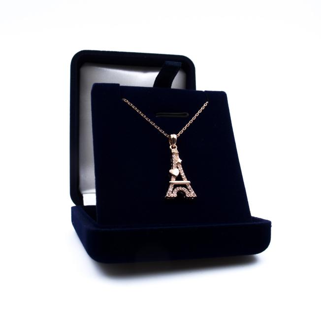 Pendentif Tour Eiffel Cœur Rose Doré - Swarovski® Elements