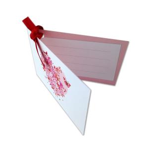 carte message accompagnant rose en argent