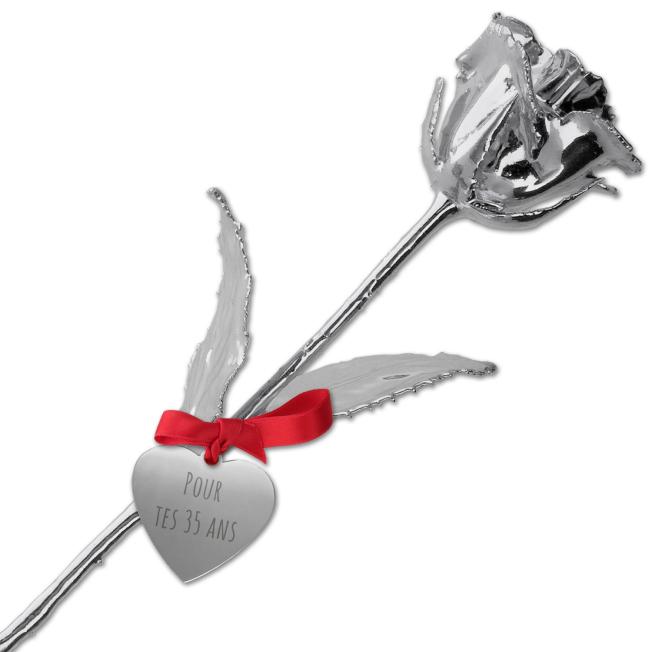 Rose en Argent 999/1000 Personnalisable pour  Offrez une rose perso...