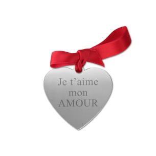 coeur gravé avec ruban pour rose en argent personnalisée