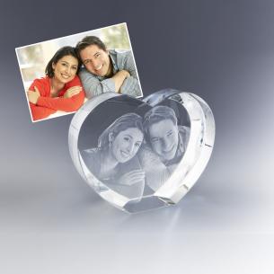 Coeur 3D en verre gravé de votre photo préférée