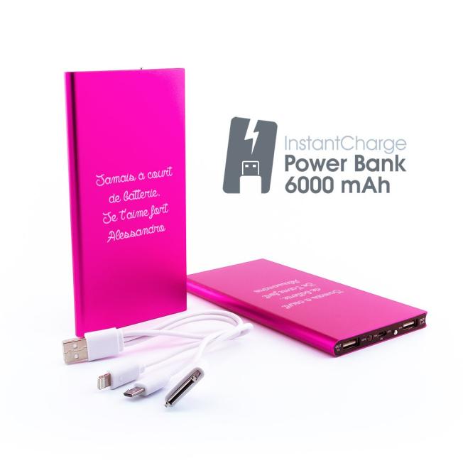 Chargeur de Batterie Fushia Personnalisable (6 000 mAh)