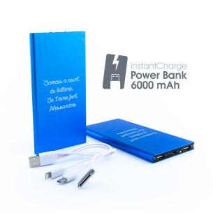 Chargeur de Batterie Bleu Personnalisable (6 000 mAh)