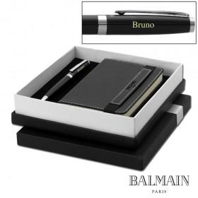Coffret Balmain Stylo à Bille et Bloc-Notes Noir, Personnalisable