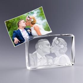 Bloc en verre avec photo gravée