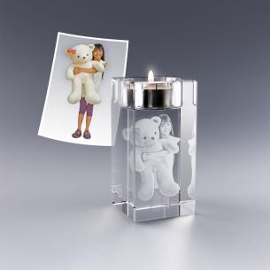Bougeoir verre personnalisé photo 3D - 10 cm
