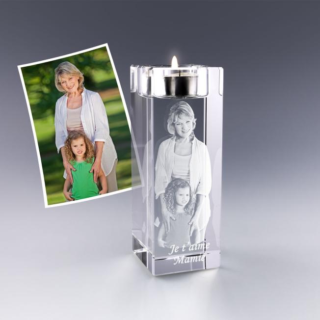 Bougeoir photo 3D en verre - 14 cm