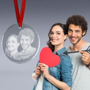 Medaille verre photo couple gravée