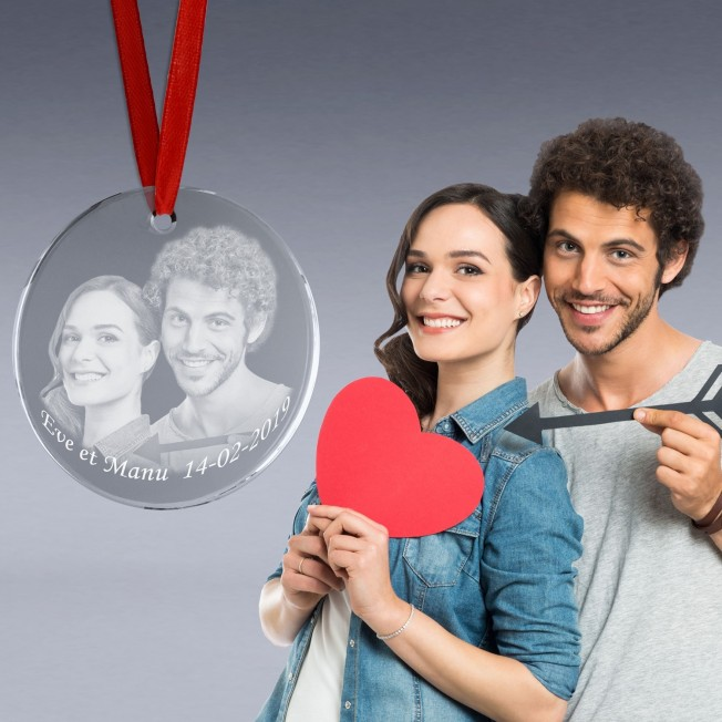 Medaille verre photo couple gravée