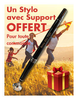 Un stylo avec support pour toute commande